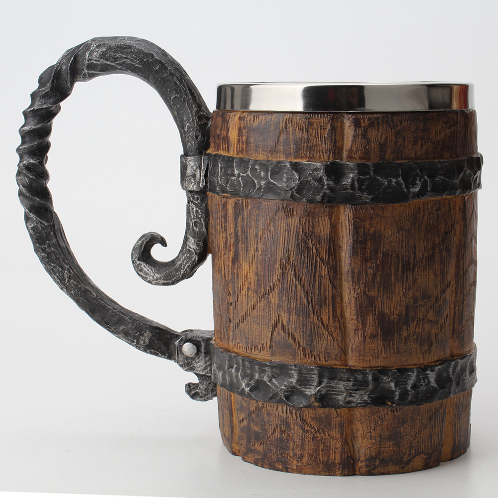 Wooden barrel Stainless Steel Resin 3D Beer Mug Goblet Game Tankard Coffee Cup Wine Glass Mugs 650ml BEST GOT Gift(China)