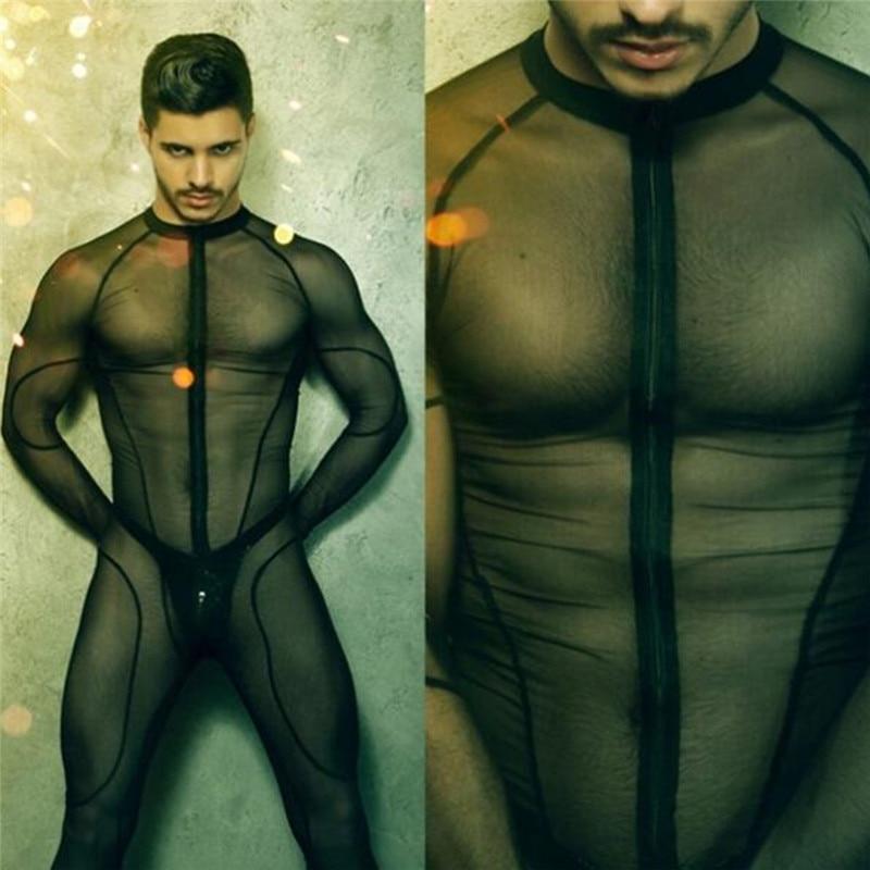 Man Mesh Catsuit Teddy Bodysuit Black Transparent Erotic Lingerie Bodysuits Body Wear One Piece Jumpsuit