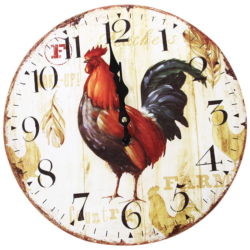 Vintage Shabby Chic Animals And Flowers Style 34cm Wall Clock Home Bedroom Kitchen Quartz (Pattern:Farm)