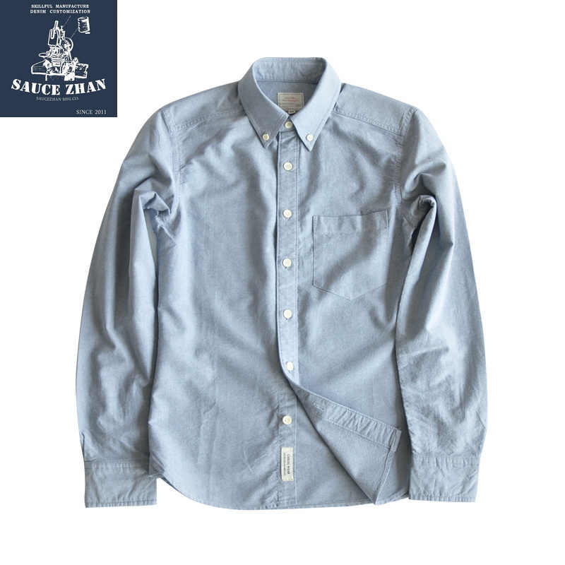 SauceZhan, camisa Original Vintage de algodón, camisa para hombre, camisas ajustadas para hombre, camisa manga larga para hombre, camisa de tela Oxford para hombre
