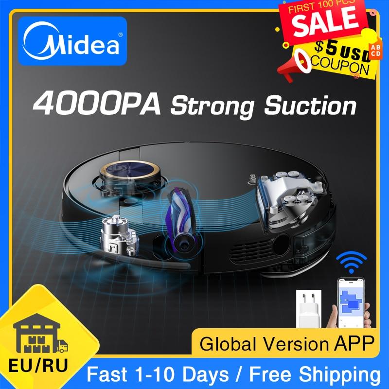 Neue Midea M7 Pro Roboter-staubsauger Hause Kehr 4000Pa Saug Reinigung Vibrierende Mopp Staub Collector Smart Geplant Sauger