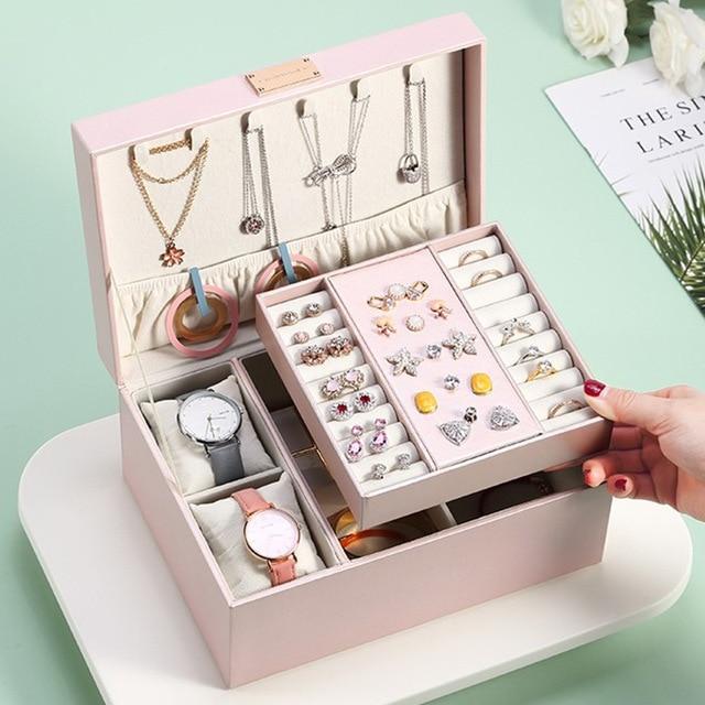 Casegrace 2020 موضة تصميم كبير جلد مجوهرات صندوق صندوق عرض مجوهرات 2 طبقات ماكياج المنظم حلقة قلادة صندوق تخزين