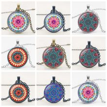 2019 Ethnic Wind Flower Kaleidoscope Pendant Necklace Glass Convex Round Charm Trend Sweater Chain