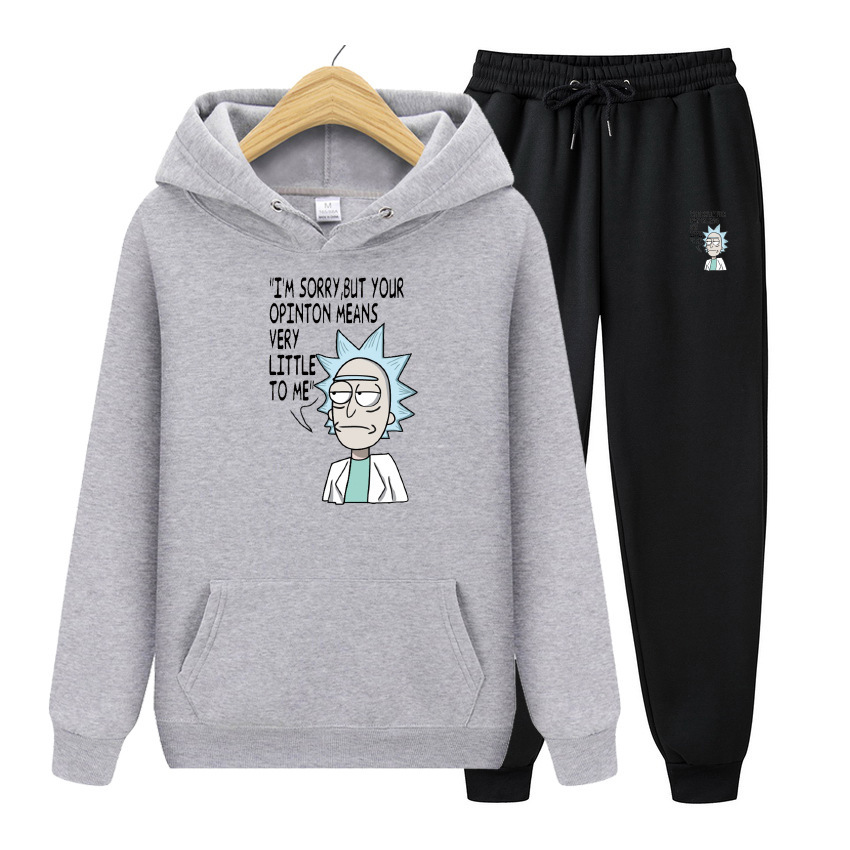 Hoodies+Pants 2 Piece Set Rick Morty Men Tracksuits Suit Funny Print Hoodie Pullover Spring Autum Fashion Casual Hoody Sweatshir