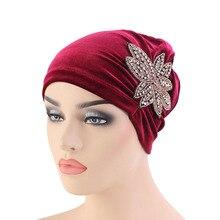 New beaded flower turban velvet hat Women Muslim Chemo Hat Hijab Hair Loss Head Scarf Turban Cap Wrap turbante mujer hijab