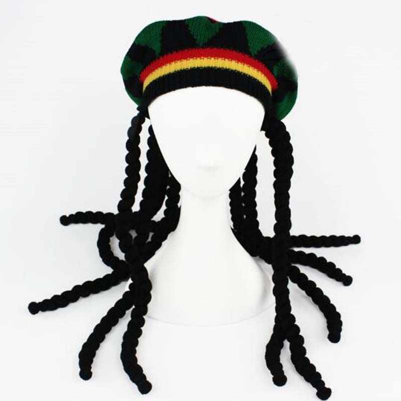ジャマイカ合成編組ニットキャップ秋冬暖かいレゲエ Skullies ビーニー Pompom 女性男性ベレーキャップハロウィーンの装飾