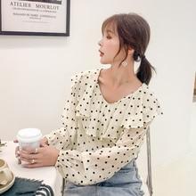 Autumn Korean Fashion Chiffon Women Blouses Ruffles Womens Tops and Plus Size XXL Long Sleeve Shirts