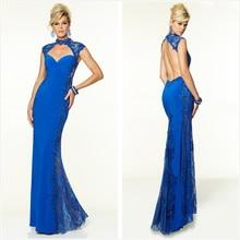 2018 robe de soiree High Neck SChiffon Lace women elegant 2018 Royal Blue formal evening Prom Gown