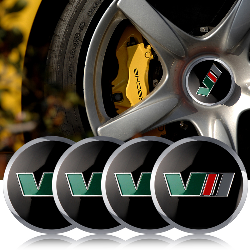 4pcs 56mm Aluminium VII Emblem <font><b>Car</b></font> <font><b>Wheel</b></font> <font><b>Center</b></font> <font><b>Hub</b></font> <font><b>Cap</b></font> Sticker For <font><b>Skoda</b></font> Kodiaq Octavia Yeti Rapid Superb Fabia <font><b>Car</b></font> Accessories image