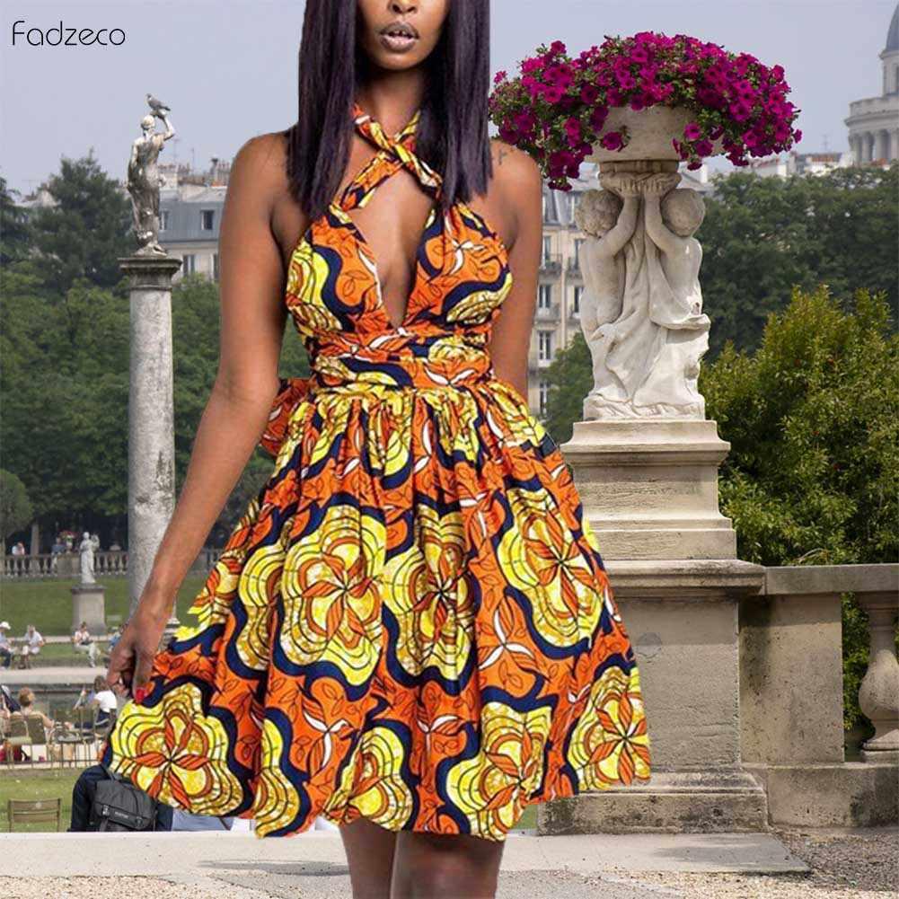 Fadzeco элегантный Африканский стиль одежды для женщин 2019 ткань для платья мульти-износ платье Анкара Vestidos летнее Африканское платье с узором