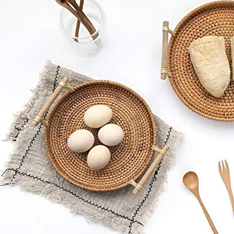 Hand-Woven Rattan Round Serving Tray,Round Wicker Basket with Handles Round Cracker Tea Storage Tray