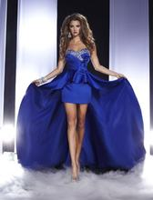 Женское короткое платье с бисером синее для выпускного вечера