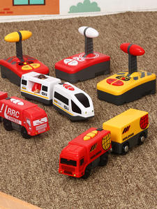 Set Railway-Track Toys Wooden Small Train Remote-Control Interesting-Present Electric