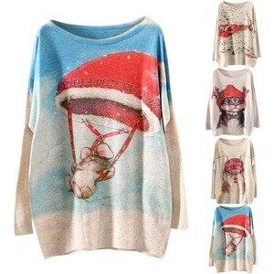 Women Fashion O-Neck Christmas Print Sleeve Long Sleeve Sweater Top sweater women vintage fashion женские свитера ropa mujer