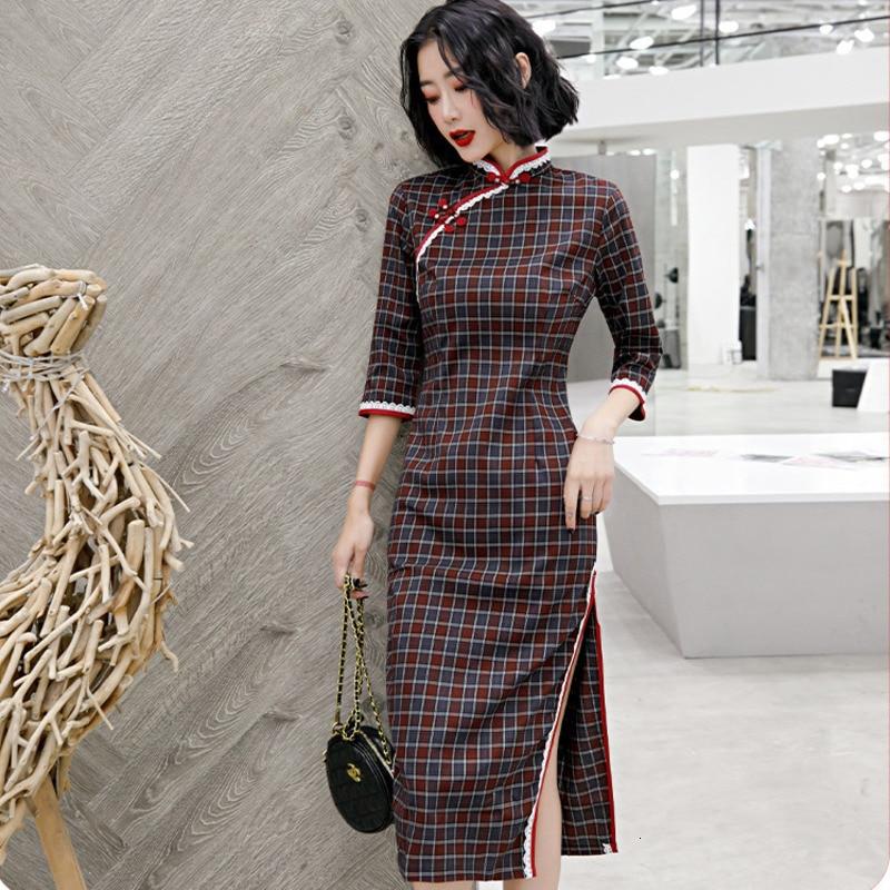 SHENG COCO Modern Cotton Cheongsam Dress Female Plaid Clothing Drak Red Autumn Chinese