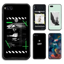 OFF OW trend Brand white funda black matte solid Liquid Phone Case Cover Hull
