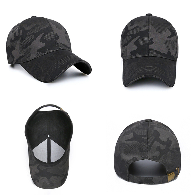 HSSEE Fashion Camouflage Cotton Men Fishing Hat Anti-rust Metal Adjustable Buckle Breathable Comfortable Outdoor Tactical Cap 5