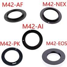 10 pçs/lote para M42 EOS M42 AI M42 AF M42 PK M42 NEX m42 parafuso de alumínio montagem lente adaptador para canon nikon sony pentax lente da câmera