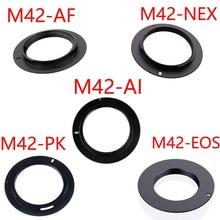 10pcs/lot For M42 EOS M42 AI M42 AF M42 PK M42 NEX Aluminum M42 Screw Mount Lens Adapter For Canon Nikon Sony pentax camera lens