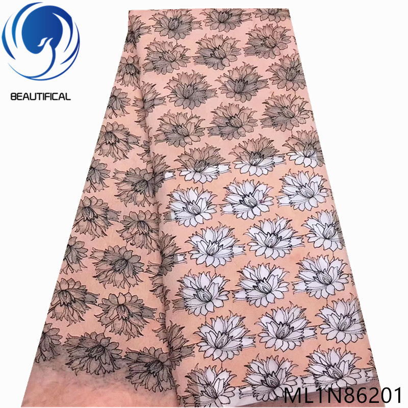 BEAUTIFICAL African Embroidery Flower Laces Fabric 2019 Dress Lace African High Quality French Tulle Lace 5 yards/lot ML1N862