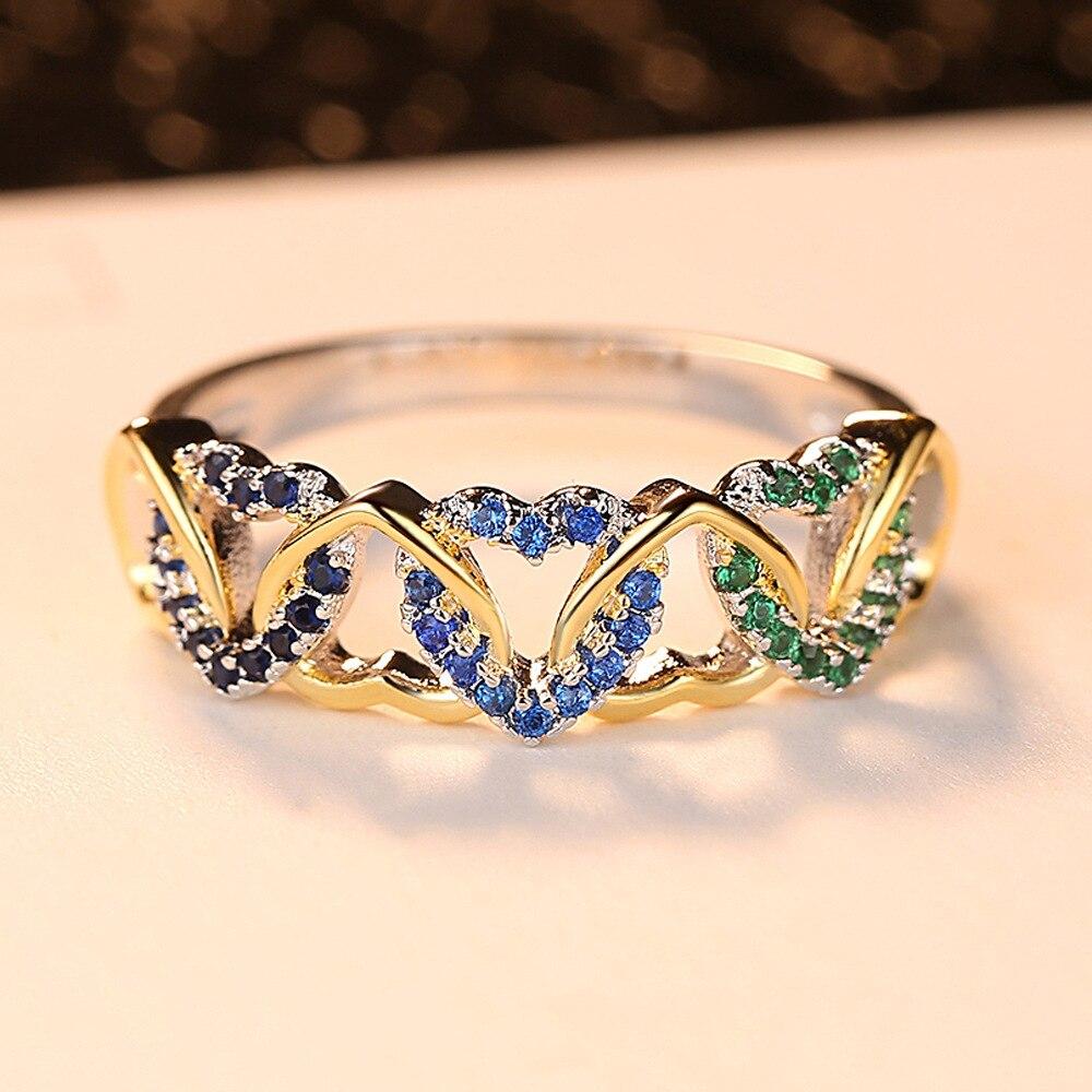 LS1345 Populaire twee kleur ring kleur micro inlay gewikkeld hartvormige paar ring - 2
