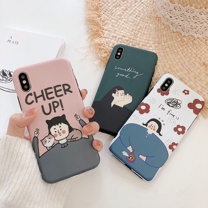 Retro Korean illustration girls with <font><b>cat</b></font> phone <font><b>case</b></font> for coque <font><b>iPhone</b></font> 7 <font><b>8</b></font> 6 plus XS 11 Pro max <font><b>case</b></font> silicon for <font><b>iPhone</b></font> cover X XR image