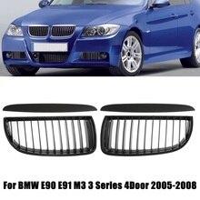 4 قطعة الجبهة الوفير الكلى مصبغة سباق شواء ماتي/الأسود اللامع مع Upper هود الجفون ل BMW E90 E91 3 سلسلة 4 الباب 2005 2008