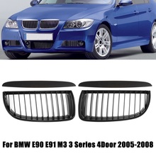 4Pcs Front Bumper Kidney Grille Racing Grill Matte/Gloss Black with Upper Hood Eyelids For BMW E90 E91 3 Series 4 Door 2005 2008