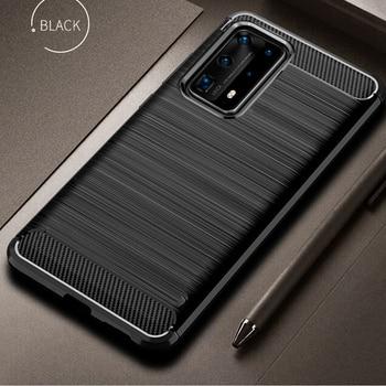 Para huawei p40 pro case capa de fibra de carbono phone case à prova de choque para huawei p 40 / pro capa flexível tampa do carro proteção telefone