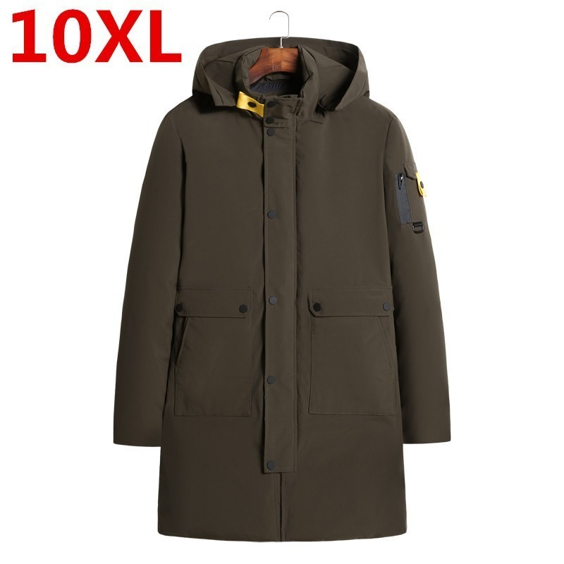 New Plus Size 10XL 9XL 8XL High Quality Winter Coat Simple Fashion Coat Big Pocket Design Men's Warm Hooded Brand Fashion Parkas