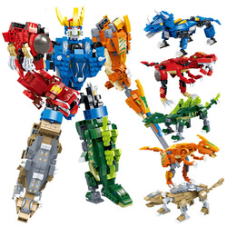 Goood Transformation 8724 New Music New Dinosaur Straight Variable Five In One Educational Assembled Joint Toy Building Blocks E