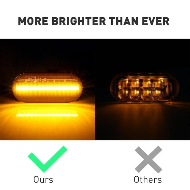 2pc LED Sequential Turn Signal Fender Marker Lights For VW Mk3 + Mk6 5