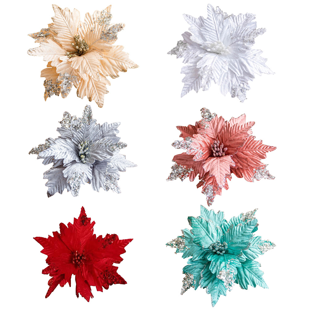 Artificial Christmas Flowers Merry Christmas Tree Ornament Artificial Flowers Xmas Tree Glitter Fake Flower Head DIY-5