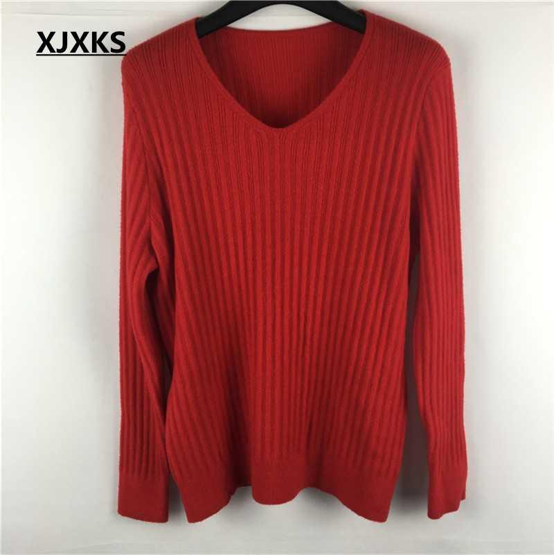 Xjxks Musim Gugur 2019 Lembut Elastis Sweater dan Pullovers Wanita Musim Gugur Musim Dingin Sederhana Sweater Jumper Rajutan Tops Padat Sweater Wanita