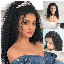 цена на 250 Density Brazilian Human Hair Lace Wig Kinky Curly Lace Front Human Hair Wigs With Baby Hair PrePlucked For Black Women
