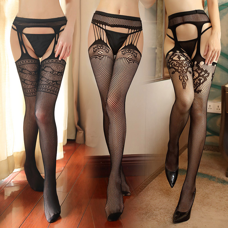 <font><b>16</b></font> Styles Lace Top Thigh High Stockings With Garters Women <font><b>Sexy</b></font> Crotchless Lingerie Intimates <font><b>Female</b></font> Erotic Underwear Hosiery image