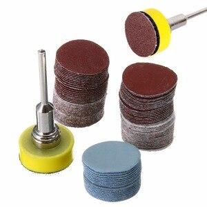 Discos de lijado abrasivos de 100 piezas + 1 almohadilla de lijado de gancho y bucle con pulido de vástago de 1/8 pulgadas conjunto de herramientas