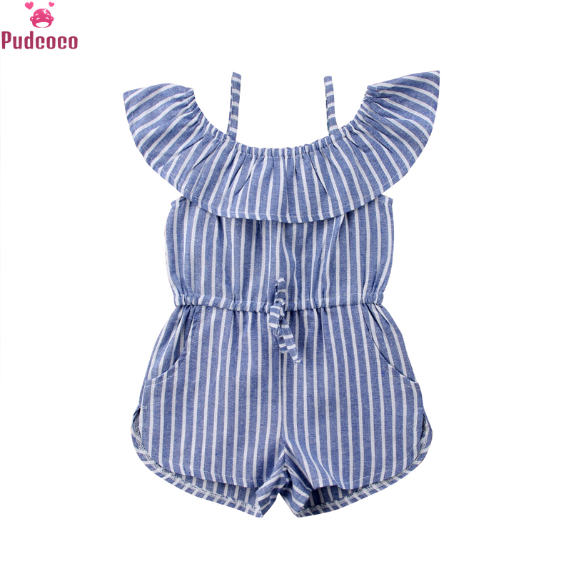 Pudcoco Baby Girls Rompers Children Kids Toddler Striped Off Shoulder Jumpsuit Clothes Pocket Ruffled Overalls Outfit 1-6Y