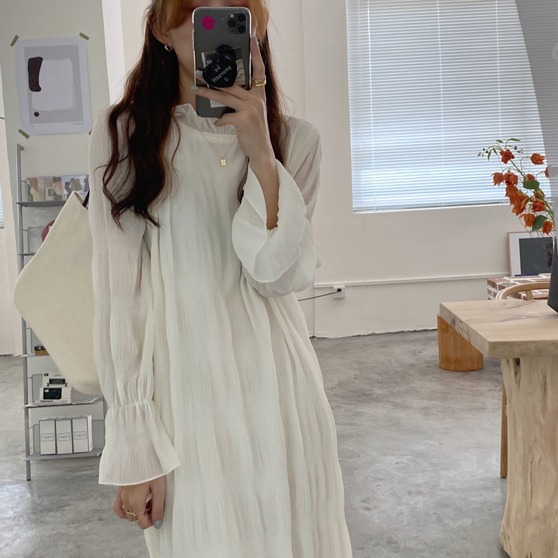 Hdc08a9c0520540129fac686635f74c77P - Autumn Korean O-Neck Flare Long Sleeves Chiffon Pleated Midi Dress
