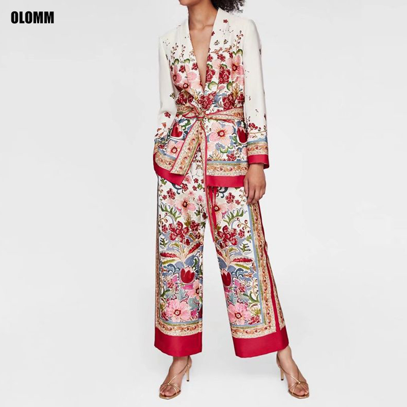 Women's Suits 2019 Summer New Fashion Women's Printing Slim Suit Jacket Trend Loose Wide Leg Pants Suit Two-piece