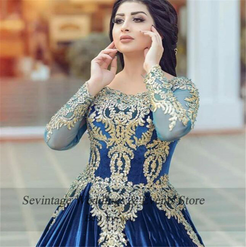 Sevintage Royal Blue Moroccan Kaftan Muslim Evening Dresses Long Sleeves Dubai Arabic Prom Gowns Lace Appliques Velvet Dress
