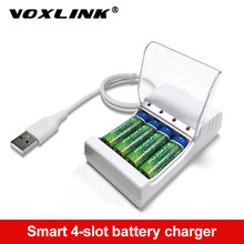 VOXLINK – chargeur de batterie à 4 fentes, charge rapide, sortie USB, Protection contre les courts-circuits, batterie Rechargeable AAA/AA, Station Standard