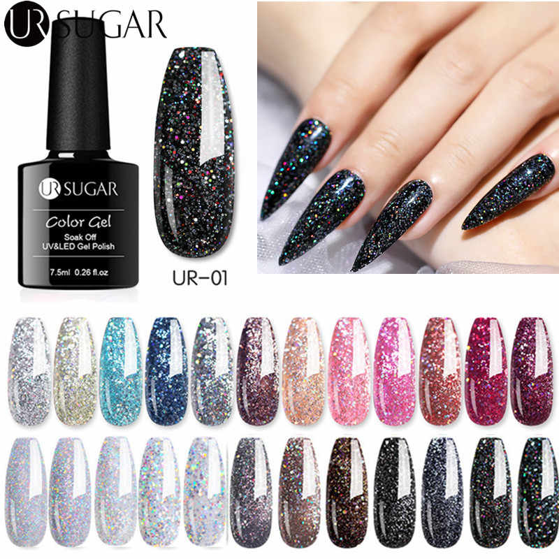 UR Gula 7.5 Ml Glitter Gel Cat Kuku Coklat Series Silver Laser Payet Gel Rendam Off UV LED Gel Varnish nail Art