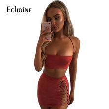 Sexy Slim Fashion Suede Leather Two Piece Set club Dresses autumn Zipper Bandage Strap Women Tube Backless Mini 2 Dress