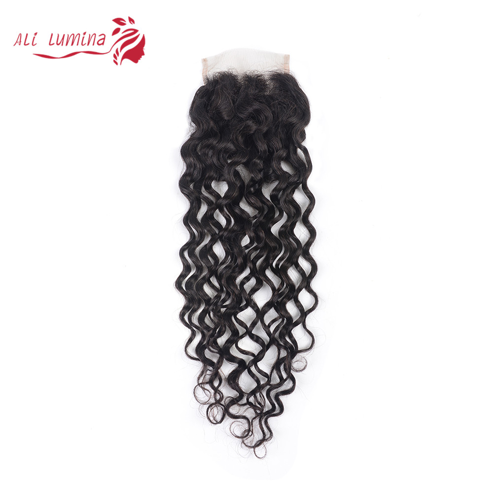 4x4 Lace Closure 100%  Closure Sample     Hair Water Wave Frontal 8 Inches Short Hair 1