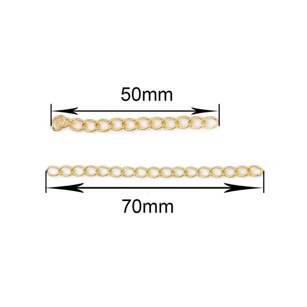 50 قطعة/الوحدة لهجة تمديد تمديد الذيل سلسلة 50/70 مللي متر الذهب الفضة سلسلة معدنية DIY بها بنفسك صنع المجوهرات النتائج قلادة سوار
