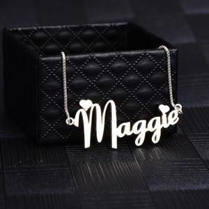 Image 1 - RainMarch Personalisierte Namenecklace 925 Silber Frauen Halsketten & Anhänger Customiz Halskette Geburtstag Geschenk Dropshipping