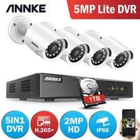 ANNKE 4CH 1080P CCTV Camera DVR System 4pcs Waterproof 2.0MP HD TVI Bullet Cameras Home Video Surveillance Kit White Color