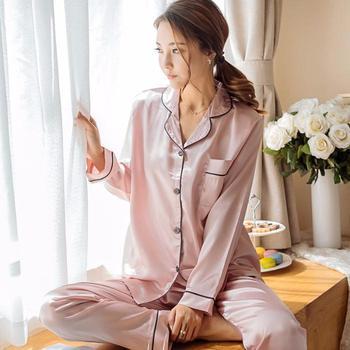Women Pajamas Set Sleepwear Winter Long Sleeve Mujer Pijamas Nuisette Sexy Lingerie Nightwear Silk Satin Pyjamas pjs Suit 2Pcs 9