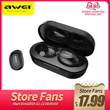 Asli Awei Tws T16 Wireless Earphone dengan Bluetooth Headset Earphone Benar Earbud Nirkabel untuk Xiaomi Kehormatan iPhone Earphone(China)